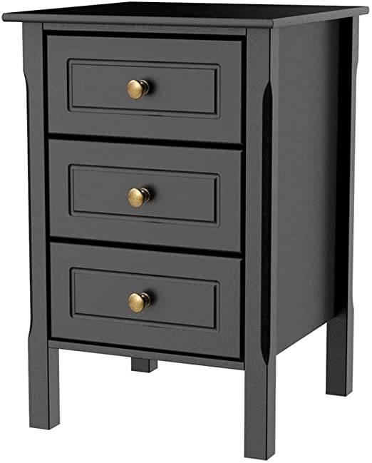 Amazon Com Yaheetch Black Nightstand Bedside End Table 3 Drawer