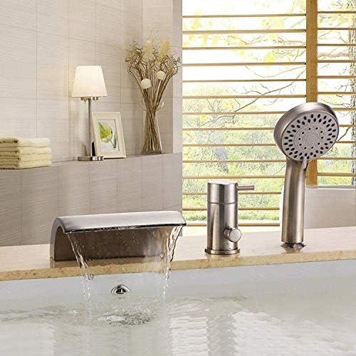 ZY-YY シャワースリーピース浴室のシャワーホット&コールドバスルームタップを有する流域の蛇口シリンダー蛇口銅ブラシ付きバスタブ滝の蛇口