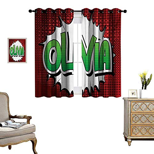 Olivia Waterproof Window Curtain Retro Comic Book Burst with Common Women`s Given Name Teenager Design Blackout Draperies for Bedroom W63 x L45 Ruby Green and White