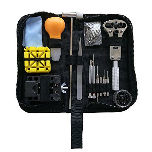 EONBES Watch Repair Tool Kit, Professional Wrist Watch Band Link Back Pin Strap Removal Adjustment Sizing Opening Kit Set with Carrying Case ()