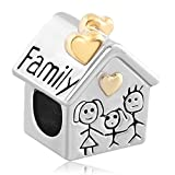Fit Pandora Charms Silver Plated Family Heart Love House Beads