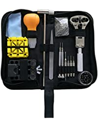 Watch Repair Tool Kit, Professional Wrist Watch Band Link Back Pin Strap Removal Adjustment Sizing Opening Kit Set with Carrying Case