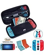 ANGPO® 10 in 1 Zubehör für Nintendo Switch,Switch Tasche+Silikon Joy-Con Hülle +2 Displayschutzfolie Glas +2 Game Card Box