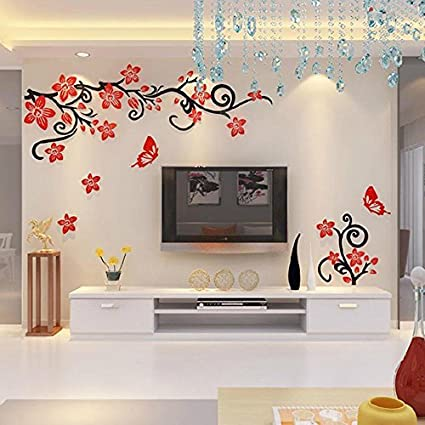 Alicemall fabulous acrylic 3d flowers and vines tv wall bedroom 3d wall stickers red and