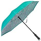 Multi Dot Teal Revers-A-Brella Portable No Drip Inverted Auto Open Lighted Handle Umbrella
