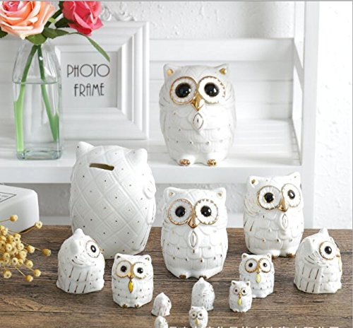 Miss.AJ Owl Ceramic Piggy Bank Personalized Coin Saving Bank for Kids Nursery Gift Decor ( 3.6 inch ()