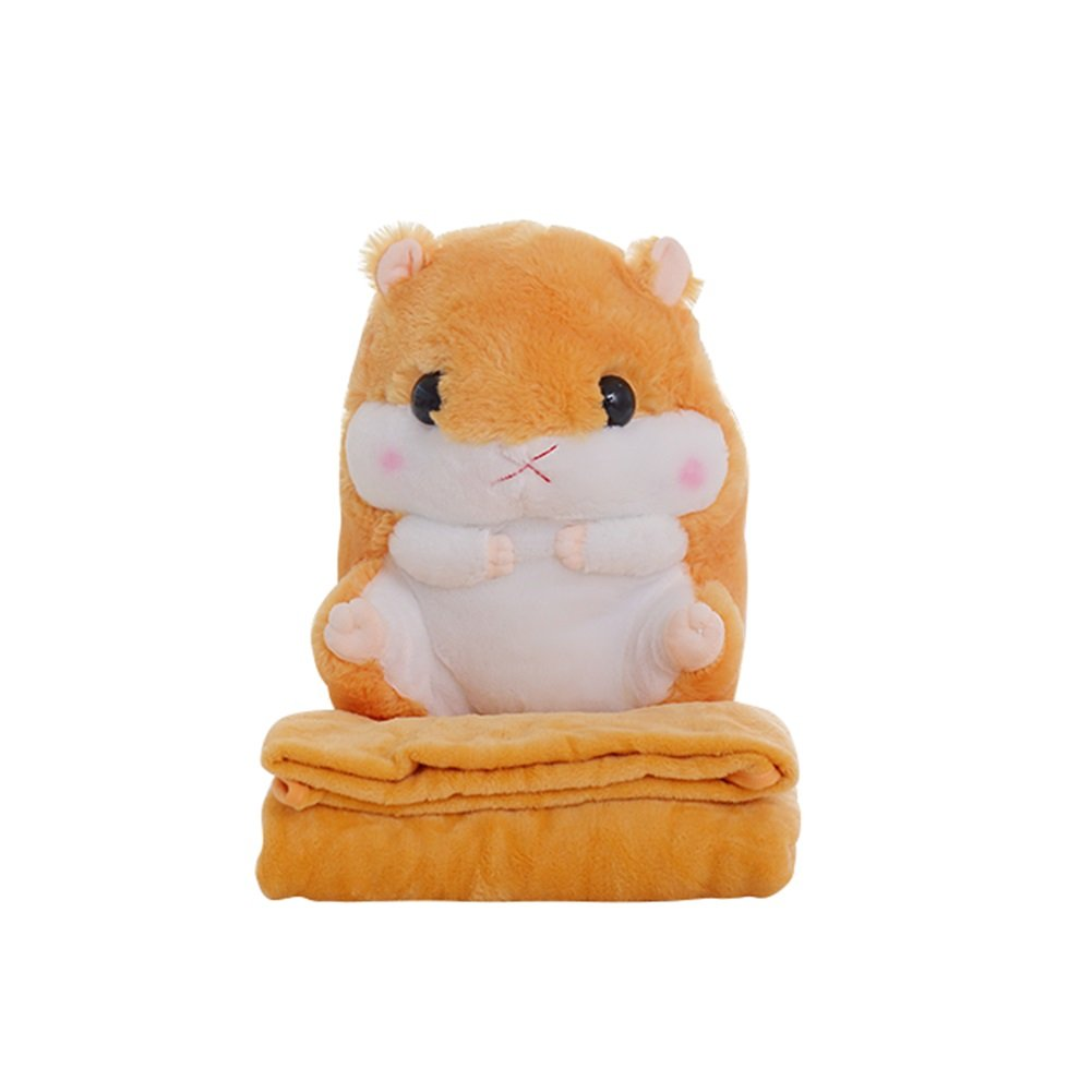 Fivtyily Cute Hamster Throw Pillow Blanket Set Animal Plush Toy Soft Bed Pillows (Light Brown)