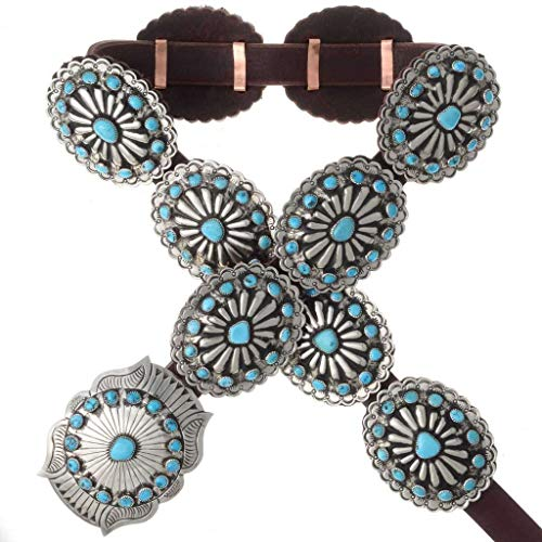 Turquoise Silver Concho Belt Navajo Old Pawn Style 0111 ()