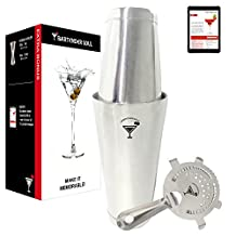 Professional Boston Shaker with Hawthorne Strainer by BARTENDER SOUL - 18 & 28oz Double Flair Weighted Set - Precision Design 18/8 304 Real Quality Steel of 0.7mm Thickness - Cocktail Martini Bar Kit