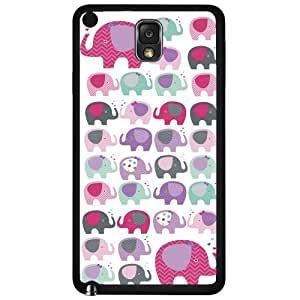 Girly Pink, Purple, and Teal Elephants Pattern Hard Snap on Phone Case (Note 3 III)