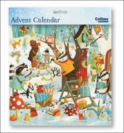 Square Advent Calendar (WDM0364) Caltime - Party Time - Decorating The Tree - Glitter Varnished by Caltime Woodmansterne