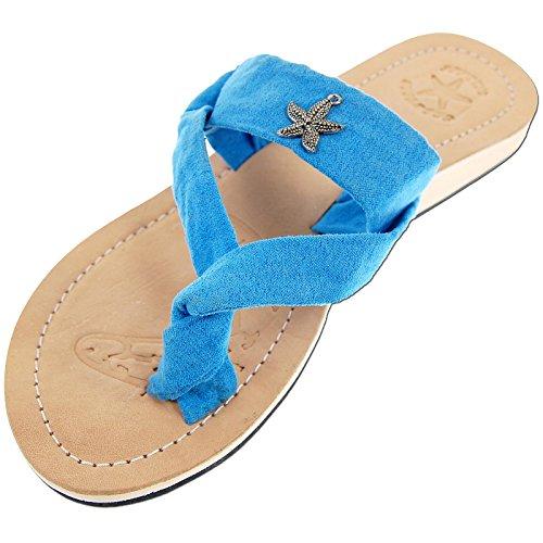 SEESTERN Damen Leder Zehentrenner Zehensandale Zehensteg Sandalen in Größe 36-44 Blau