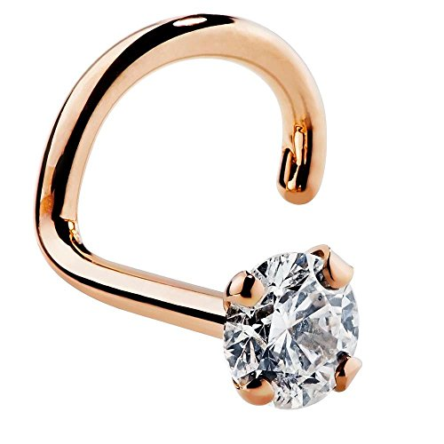FreshTrends 2mm 0.03 ct. tw Diamond 14K Rose Gold Nose Ring Twist Screw 20G - Si1 14k Rose Diamond