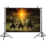 Allenjoy 7x5ft Christmas Backdrop Three Kings Desert Camel Starlight Jesus Christian Holy Night Nativity Photographic Background Yellow Background Cartoon Style Photo Studio Props