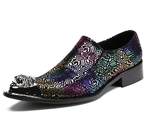 toe convenzionale pelle punta vestito scarpe on colorato wedding amp; Business uomini Dimensioni 38TO Orfila in western 45 cowboy slip mocassini metal 7qZ0BxtwBg