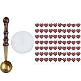 WinnerEco 1 Set Heart Shape Sealing Wax Beads Candle Pack Mini Melting Spoon Wine Red