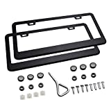 #4: Ohuhu Matte Aluminum License Plate Frame with Chrome Screw Caps, 2Pcs 2 Holes Black Licenses Plates Frames, Car Licenses Plate Covers Holders For US Vehicles