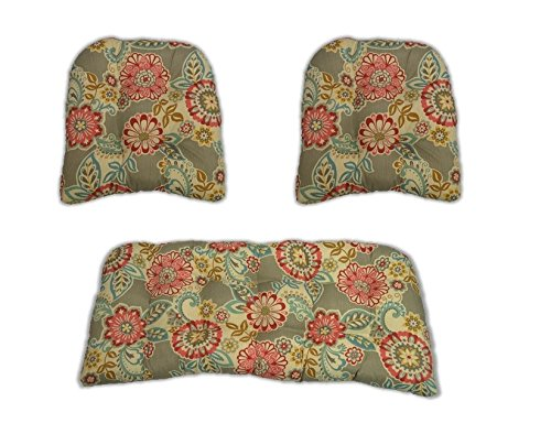 Resort Spa Home Decor 3 Piece Wicker Cushion Set - Indoor/Outdoor Wicker Loveseat Settee & 2 Matching Chair Cushions - Light Grey/Gray Paisley Floral - Pink, Red, Yellow, Orange, White (Paisley Settee)