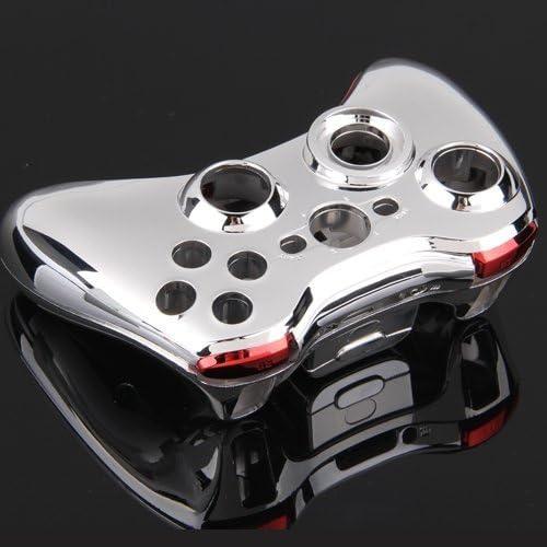 Carcasa Cromado Mando para Xbox 360 Botón Herramientas Plata Rojo