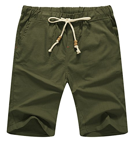 Mr.Zhang Men's Linen Casual Classic Fit Short Summer Beach Shorts Army Green-US - Drawstring Shorts Classic