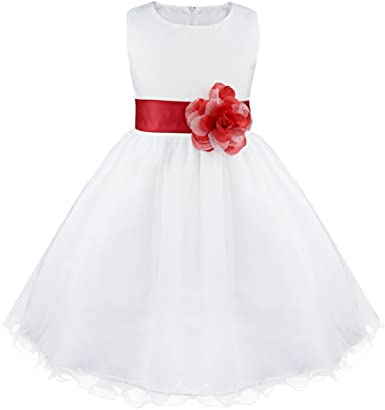 IEFIEL Vestido de Princesa Niña Tul Tutú Vestido Blanco de Fiesta Boda Bautizo para Niñas Vestido de Flores Cumpleaños Princesa Elegante 2 Años-14 Años: Amazon.es: Ropa y accesorios