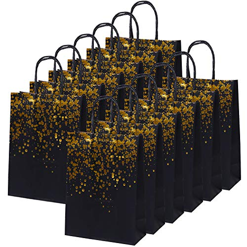 Cooraby 20 Pieces Paper Party Bags Dot Bronzing Kraft Paper Bag Hen Party Bags Bride Gift Bag with Handle for Party -