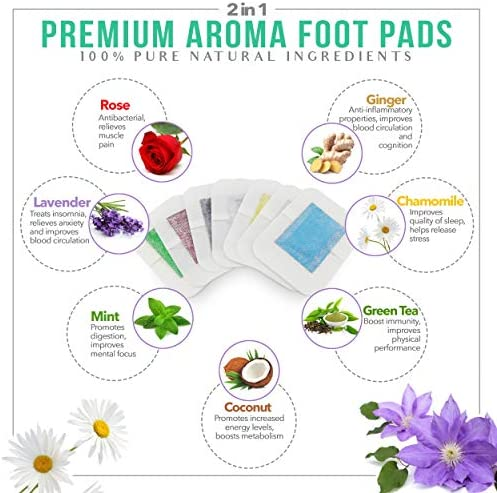 Sole Soothe Foot Pads Upgraded Premium 2 in1, 100% All Natural Foot Patches for Increased Energy, Deep Sleep, Anti-Stress, 7 Types -Ginger,Mint,Rose,Green Tea,Lavender,Coconut - 28 Counts (Box of 1) 2