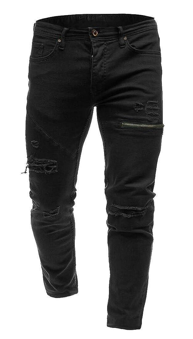 WSPLYSPJY Men Zipper Knees Ripped Stretch Destroyed Slim Skinny Denim Pants Jeans