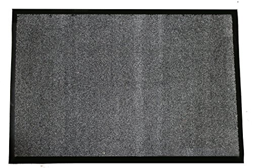 Durable Wipe-N-Walk Vinyl Backed Indoor Carpet Entrance Mat, 4' x 6', Charcoal ()