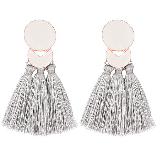 D EXCEED Fashion Statement Thread Tassel Earrings Bohemian Chandelier Tassel Earrings Enamel Stud Earrings for Women Grey (Enamel Chandelier Earrings)