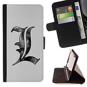 Jordan Colourful Shop - drawing pencil art letters grey white For Samsung Galaxy S4 IV I9500 - < Leather Case Absorci????n cubierta de la caja de alto impacto > -