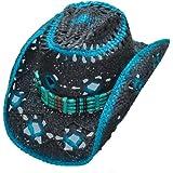 Funky Blue Black Straw Cowboy Hat Diamond Hole Detail Elastic Band - Blue - L/XL