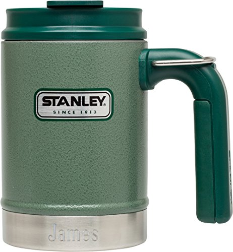 Personalized Stanley Classic Vacuum Hammertone Green Camp Mug with Free Line of Text