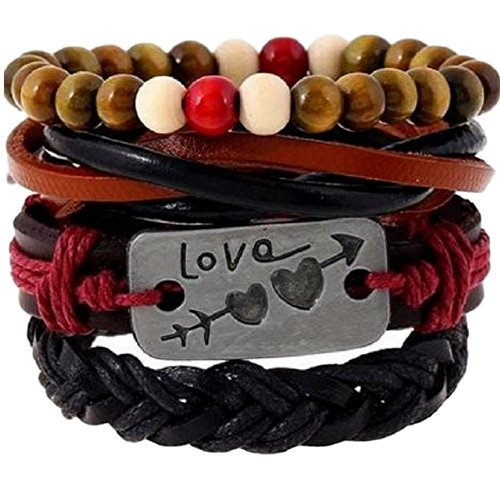Love Beads Hippie (Love Engraved Hippie Bracelet Sets Made with Beads, Leather, and Hemp)