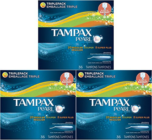 Tampax Pearl Plastic Triple Pack, Regular/Super/Super Plus Absorbency, Unscented Tampons, 36 Count (Pack of ()