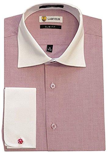 (Labiyeur Slim Fit Spread Collar French Cuff Men's Cotton Dress Shirt 15 | 34-35 Two-Tone Red)