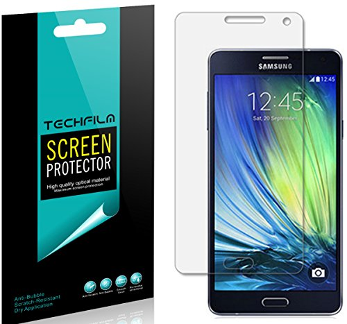 [6-Pack] TechFilm- Samsung Galaxy A7 Screen Protector Anti-Bubble Ultra Clear HD Film - Lifetime Replacements Warranty- Retail Packaging