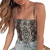 Womens Camisoles Snake Skin Print Sexy Backless Stretch Camis Bodysuit Jumpsuits Vest Bustier Fashion Crop Tops Camis Blouse Yellow