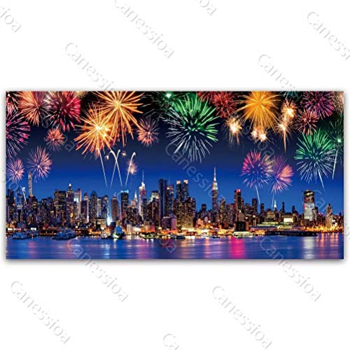 Canessioa Wall Art Canvas Painting New York Skyline Fireworks Highrise River Pictures Artwork Home Wall Decorations for Bedroom Living Room Kitchen Office Corridor Staircase(48x24inch Unframed)