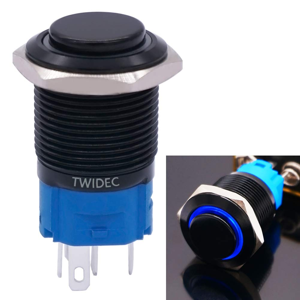 Twidec//19mm Raised Top Latching Push Button Switch 1NO 1NC SPDT Mounting Hole Black Waterproof Stainless Steel Shell with 12V Led Red Ring Pre-wiring Wires for car Modification Switch GL19O-BK-R
