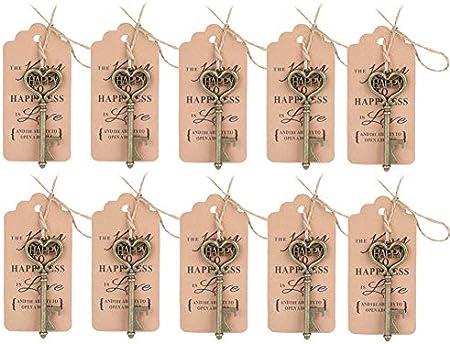 Sacacorchos para llaves, 10 piezas de regalo de regalo lateral para banquete de boda con tarjeta de etiqueta
