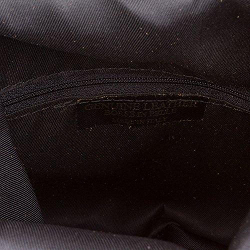 FIRENZE ARTEGIANI.Bolso de mujer piel auténtica.Bolso bandolera mujer acabado GAMUZA.Solapa con bolsillo con cierre cremallera. MADE IN ITALY. VERA PELLE ITALIANA. 24x19x3 cm. Color: NEGRO