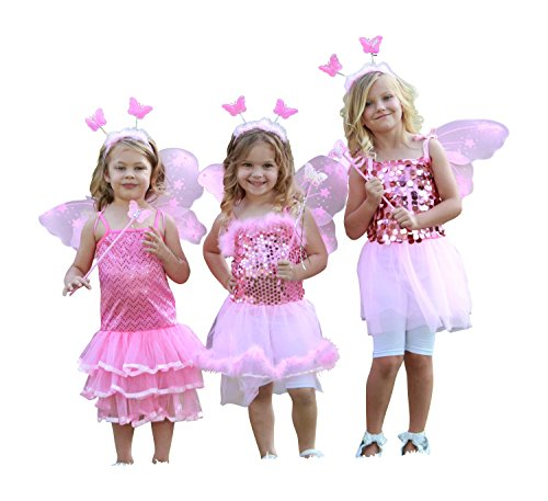 Girls Fairy Princess Dress Up Set, Pink, Medium (Little Girls Dress Up)