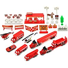 Emergency Fire Department Rescue 40 Piece Mini Diecast Toy Vehicle Playset w/ Variety of Vehicles, Accessories by Toy Vehicle Playsets