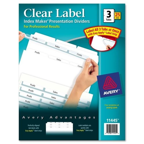 Wholesale CASE of 5 - Avery Prepunched Index Maker Dividers w/ Tabs-Index Maker, Laser, Punched, 3-Tabs, 25 ST/BX, White by AVE