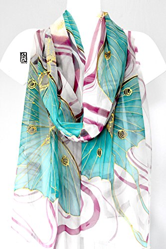 Luna Moth Shawl Wrap in Gray, Hand Painted Silk Scarf, by Silk Scarves Takuyo