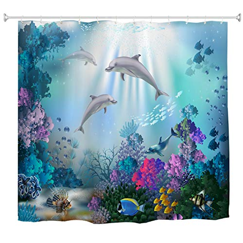 (BROSHAN Kids Ocean Shower Curtain Fabric for Bathroom Decoration,Sea Animal Dolphin Fish Colorful Coral Reef Bathroom Curtains,Polyester Waterproof Bathroom Decor Set with Hooks,72x72 Inch,Blue)