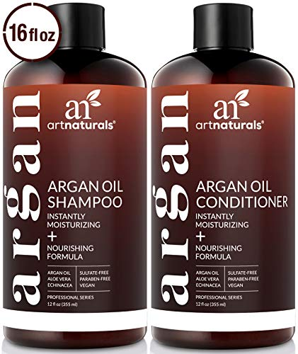 ArtNaturals Organic Moroccan Argan Oil Shampoo and Conditioner Set - (2 x 16 Fl Oz / 473ml) - Sulfate Free - Volumizing & Moisturizing - Gentle on Curly & Color Treated Hair - Infused with Keratin ()