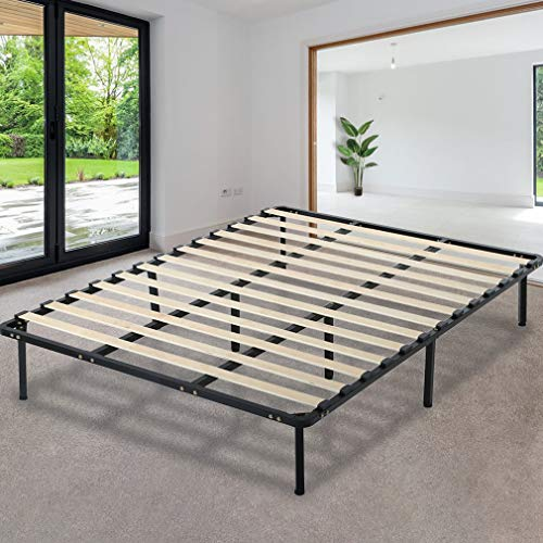 - Platform Bed Frame Mattress Foundation Full Size Metal Bed Base Heavy Duty Wood Slat with Bedroom No Box Spring Needed,Black