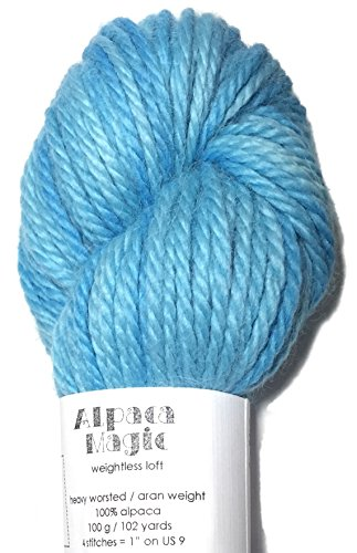 (Hand Dyed Baby Alpaca Yarn, Subtle Shades Sky Blue, Heavy Worsted Weight, 100 Grams, 102 Yards, 100% Baby Alpaca)